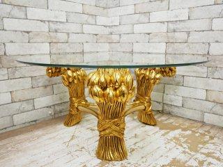 ヨーロピアンクラシカル ガラス ローテーブル ゴールドフレームレッグ 3本脚 A ●