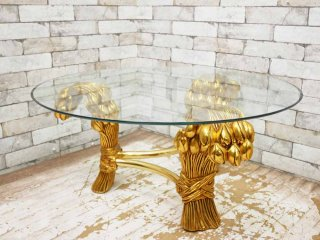 ヨーロピアンクラシカル ガラス ローテーブル ゴールドフレームレッグ 3本脚 B ●