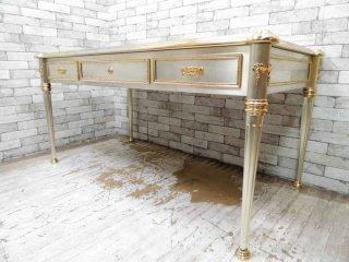 ヨーロピアンクラシカル European Classical 大型デスク ダイニングテーブル レザー天板 抽斗3杯 ●
