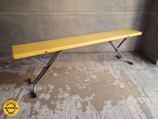 レトロ フォールディングベンチ 高さ調整可能 イエロー店舗什器 A ♪