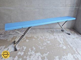 レトロ フォールディングベンチ 高さ調整可能 ブルー 店舗什器 B ♪