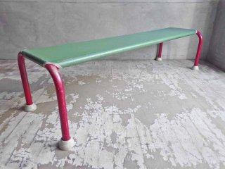 レトロ ソフトベンチ レッド × グリーン スプリング張り 店舗什器 ♪