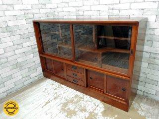 民芸家具 茶箪笥 サイドボード 飾り棚 和箪笥 食器棚 ナラ材 楢 和家具 幅150 ●