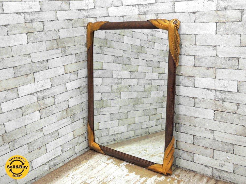 ヨーロピアンクラシカル European Classical ウォールミラー 壁掛け 鏡 ウッドフレーム ベルギー製 H105cm ●