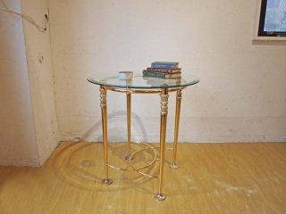 ミッドセンチュリー ゴールドフレーム ラウンド ガラス サイドテーブル イタリアンスタイル フラワースタンド マルチテーブル★