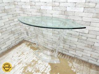 ミッドセンチュリーモダン ガラス × アクリル コンソールテーブル サイドテーブル ビンテージ ●