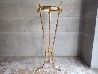 ヨーロピアンクラシカル ガラストップ ゴールドフレームレッグ 花台 コンソールテーブル サイドテーブル ♪