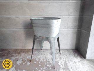 ブリキ プランター 植木鉢 ウォッシュタブ 洗面台 4本脚 ♪