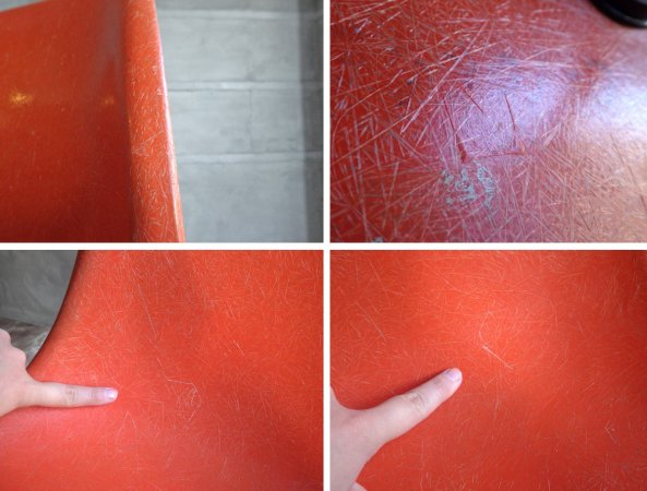 ハーマンミラー Herman Miller イームズ サイドシェルチェア 2nd FRP オレンジ Hベース ミッドセンチュリーデザイン ♪