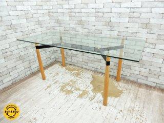 モダンデザイン ガラストップ ダイニングテーブル W180cm 木製脚 バウハウス ポストモダン ●