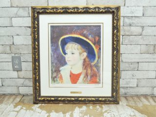 ピエール=オーギュスト・ルノワール Pierre-Auguste Renoir 青い帽子の少女 リトグラフ 額装品 MICHEL CAZA シリアルナンバー入り 105/280 ●