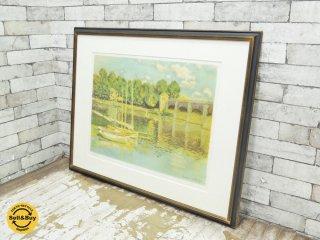 クロード・モネ Claude Monet アルジャントュイユの橋 リトグラフ 額装品 シリアルナンバー入り 140/200 ●