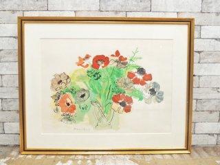 ラウル・デュフィ Raoul Duly アネモネの花束 リトグラフ 額装品 ●