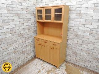 ユーアイ サライ レンジボード カップボード 食器棚 3枚扉 チェッカーガラス ナチュラル スライドレール ●