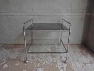 ジャパンビンテージ ガラス ローテーブル サイドテーブル ナイトテーブル ワゴン リバーシブル ♪