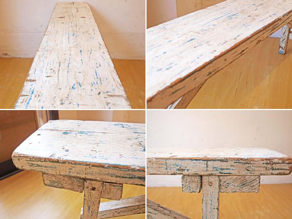 シャビーシック ペインテッド ロング ウッドベンチ Painted wood bench パイン無垢 古材 スクラップウッド ★