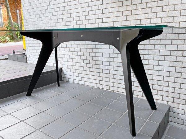 イーアンドワイ E&Y ペガサス PEGASUS ガラス×プライウッド ダイニングテーブル ブラック アレックス・マクドナルド Alex Macdonald w160cm Mサイズ ■