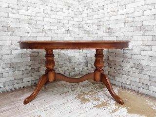 ヨーロピアン クラシカルデザイン イタリア製 ダイニングテーブル オーバル型 象嵌 アンティーク調 W150cm ●