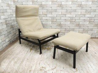 無印良品 MUJI ラウンジソファ Lounge sofa リクライニングソファ オットマン付 カバーリング ベージュ ●