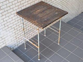 ビンテージ 古材 x アイアン デスク テーブル インダストリアル シャビー 木味 ■