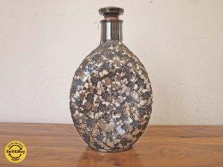 銀製 銀被せ 硝子酒器 デキャンタ デカンタ 銀細工 梅 細工 ボトル シルバー950 STERLING SILVER 950 総重量 582.2g ★