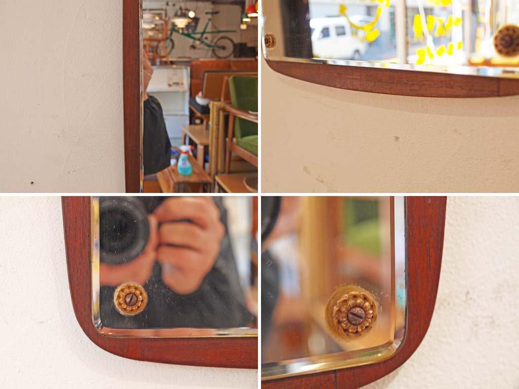 ヨハンセン ミラー johansen spejle of Copenhagen ウォールミラー チークフレーム デンマーク 60's ビンテージ 壁掛け鏡 ★