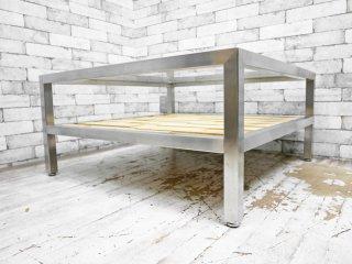 カーフ karf アイアン×ガラス スクエア センターテーブル リビングテーブル 組木 ●