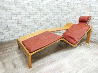 Walther Nielsen シェーズロング デイベッド サイドテーブル一体型 アッシュ材 本革 北欧家具 デンマーク ビンテージ 希少プロダクト ●