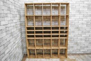 UKビンテージ 木製 オープンシェルフ ディスプレイラック 陳列棚 店舗什器 H164cm ●