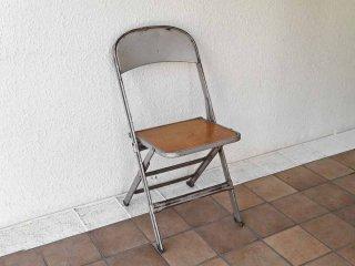 クラリン CLARIN フォールディングチェア Folding chair 折り畳みチェア 板座 ウッドシート × スチールフレーム 50's USビンテージ インダストリアル A ◇
