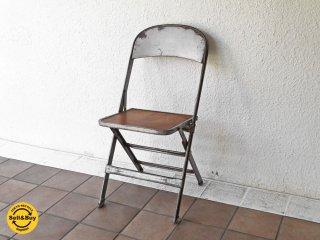クラリン CLARIN フォールディングチェア Folding chair 折り畳みチェア 板座 ウッドシート × スチールフレーム 50's USビンテージ インダストリアル B ◇