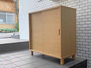 無印良品 MUJI オーク材 キャビネット 木製扉 引き戸 シンプルデザイン 北米産 ホワイトオーク使用 ■