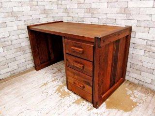 ビンテージ vintage 杉材 無垢材 デスク 机 片袖 木味家具 ●