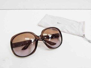 クリスチャン・ディオール Christian Dior グロッシー Glossy サングラス ブラウン 袋付き ●