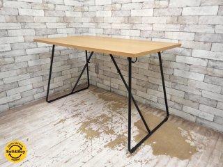 無印良品 MUJI 折りたたみテーブル ダイニングテーブル 幅120cm オーク材 ●