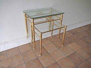 イタリアン クラシック ゴールドフレーム ガラス ネストテーブル 2点セット サイドテーブル エレガント  ◇