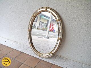 ヨーロピアンクラシカル European Classical ウォールミラー ラウンド 姿見 壁掛け鏡 スペイン アンティーク調 ◇