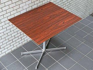 ディーアンドデパートメント D&DEPARTMENT カフェテーブル Cafe Table ローズウッド調天板 クロームメッキ X脚 ミッドセンチュリー レトロモダン ■