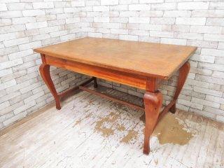 アジアン家具 Asian Furniture チーク無垢材 ダイニングテーブル 古材 ビンテージスタイル ●