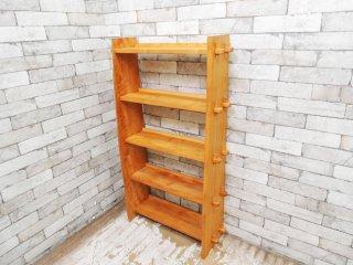 オークヴィレッジ Oak Village 無垢クリ材 5段 オープンシェルフ ナチュラル 収納棚 楔 ●
