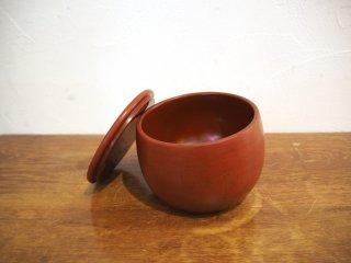 赤木明登 漆器 蓋物 塩壺 朱 小品 現代作家 美術 陶器 陶芸  伝統工芸 ★