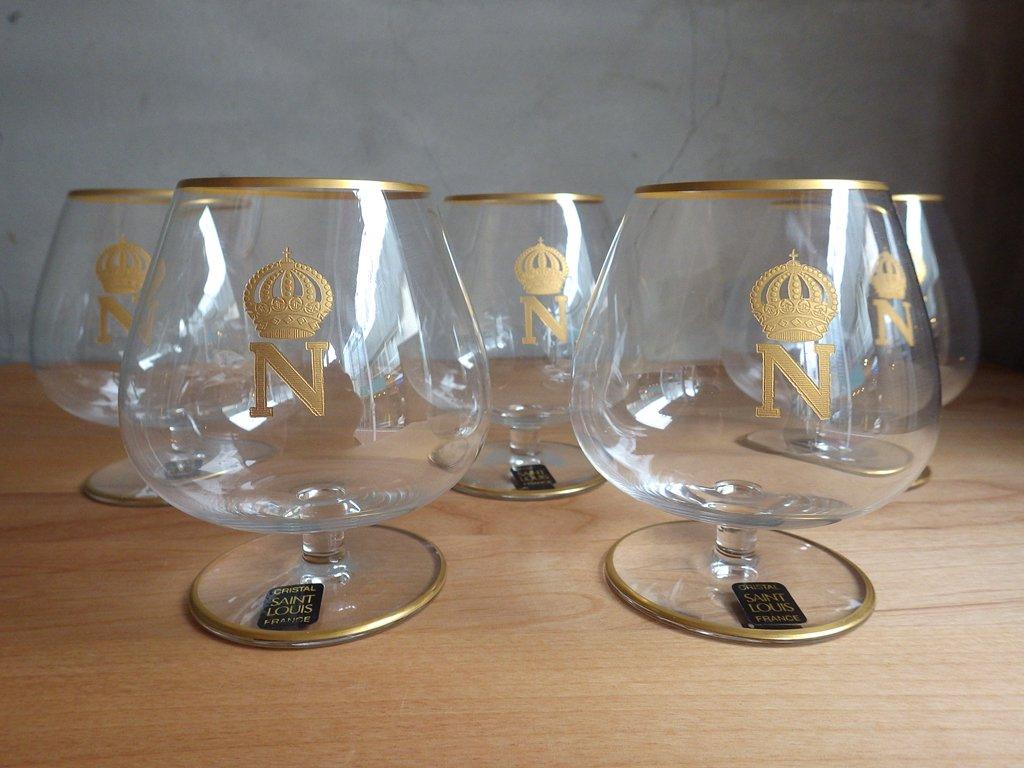 サンルイ Saint Louis ナポレオン napoleon 金彩 ブランデー グラス 5客 セット クリスタルガラス 箱付き ♪