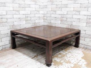 唐木家具 無垢材 座卓 角座卓 ローテーブル W90cm 和家具 古家具 伝統工芸 銘木家具 ●