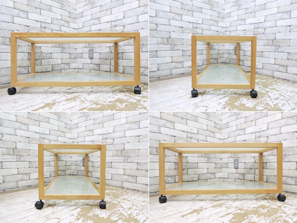 無印良品 MUJI ビーチ材 × ガラス ローテーブル キャスター付き ●