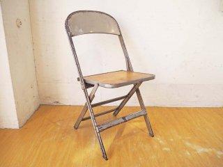 クラリン CLARIN ビンテージ フォールディングチェア ウッドシート × スチールフレーム 折畳 板座 50's US Vintage ★