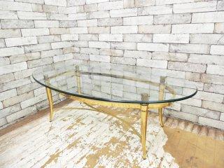 ヨーロピアンクラシカル ガラストップ ゴールドフレームレッグ ローテーブル ●