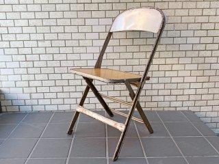 クラリン CLARIN フォールディングチェア Folding chair 板座 50'S ビンテージ 折り畳みチェア ウッドシート 米国 A ■