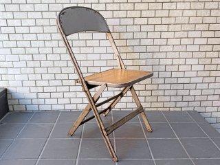 クラリン CLARIN フォールディングチェア Folding chair 板座 50'S ビンテージ 折り畳みチェア ウッドシート 米国 B ■
