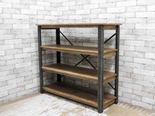 インダストリアルデザイン オープンシェルフ 4段 古材 ディスプレイラック 店鋪什器 ●