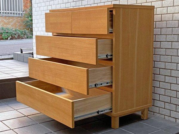無印良品 MUJI 木製チェスト 4段 タモ材 無垢材 ナチュラル ■